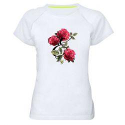 Женская спортивная футболка Буква Е с розами