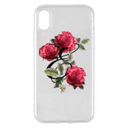Чехол для iPhone X/Xs Буква Е с розами