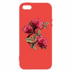 Чехол для iPhone5/5S/SE Буква Е с розами