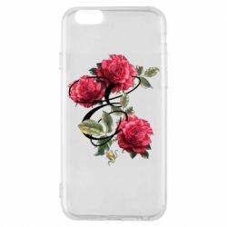 Чехол для iPhone 6/6S Буква Е с розами