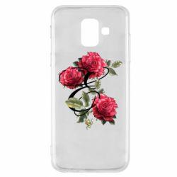 Чехол для Samsung A6 2018 Буква Е с розами