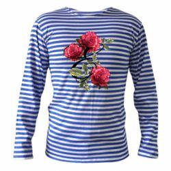 Тельняшка с длинным рукавом Буква Е с розами