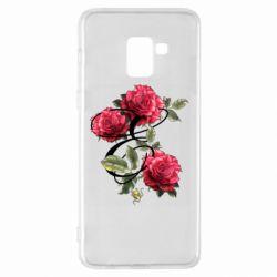 Чехол для Samsung A8+ 2018 Буква Е с розами