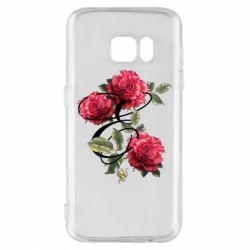 Чехол для Samsung S7 Буква Е с розами