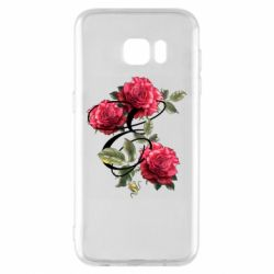 Чехол для Samsung S7 EDGE Буква Е с розами