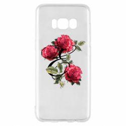 Чехол для Samsung S8 Буква Е с розами