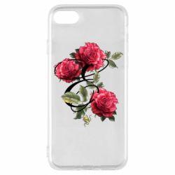 Чехол для iPhone 8 Буква Е с розами