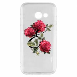 Чехол для Samsung A3 2017 Буква Е с розами