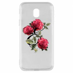 Чехол для Samsung J3 2017 Буква Е с розами