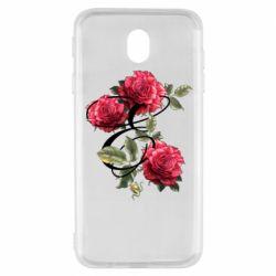 Чехол для Samsung J7 2017 Буква Е с розами