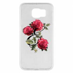 Чехол для Samsung S6 Буква Е с розами