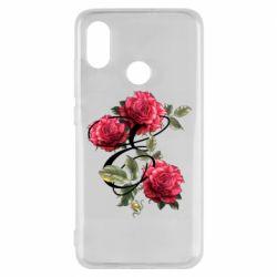 Чехол для Xiaomi Mi8 Буква Е с розами