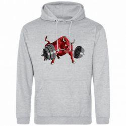 Мужская толстовка Bull with a barbell - FatLine