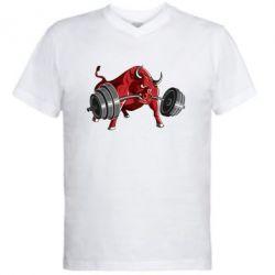 Мужская футболка  с V-образным вырезом Bull with a barbell - FatLine