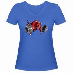 Женская футболка с V-образным вырезом Bull with a barbell - FatLine
