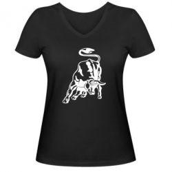 Жіноча футболка з V-подібним вирізом Bull