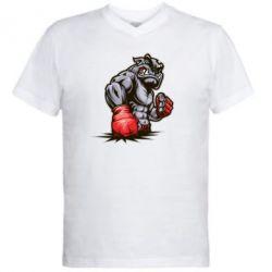 Мужская футболка  с V-образным вырезом Bulldog MMA - FatLine
