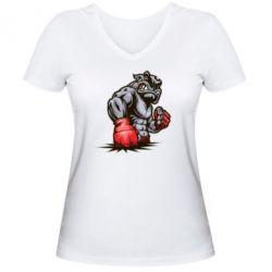 Женская футболка с V-образным вырезом Bulldog MMA - FatLine