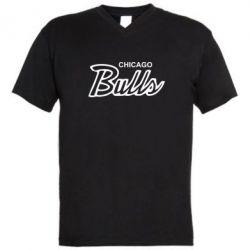 Мужская футболка  с V-образным вырезом Bulls from Chicago - FatLine