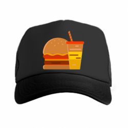 Кепка-тракер Burger and drink vector