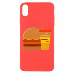 Чехол для iPhone Xs Max Burger and drink vector