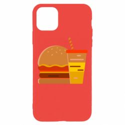 Чехол для iPhone 11 Pro Burger and drink vector