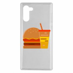Чехол для Samsung Note 10 Burger and drink vector