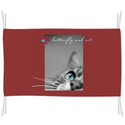 Прапор Butterfly and cat with blur effect