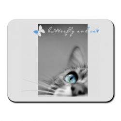 Килимок для миші Butterfly and cat with blur effect