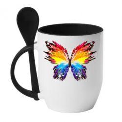 Кружка с керамической ложкой Butterfly