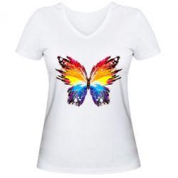 Женская футболка с V-образным вырезом Butterfly
