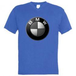 Мужская футболка  с V-образным вырезом BMW Black & White - FatLine