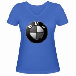 Женская футболка с V-образным вырезом BWM Black & White - FatLine