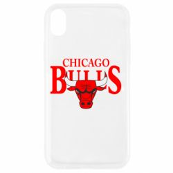 Чехол для iPhone XR Бык на фоне Chicago Bulls