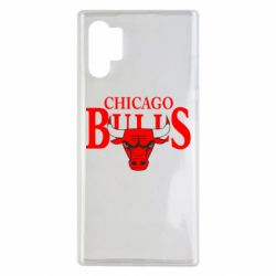Чехол для Samsung Note 10 Plus Бык на фоне Chicago Bulls