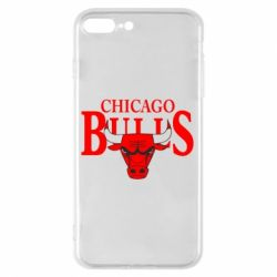 Чехол для iPhone 8 Plus Бык на фоне Chicago Bulls