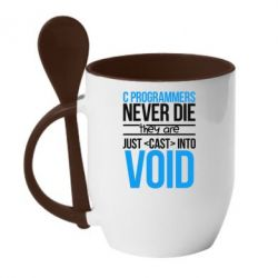 Купить Кружка с керамической ложкой C programmers never die they are just cast into void, FatLine