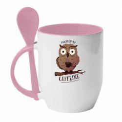 Кружка з керамічною ложкою Caffeine Owl