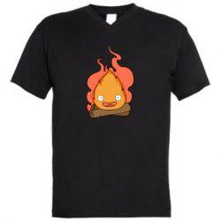 Мужская футболка  с V-образным вырезом Calcifer vector