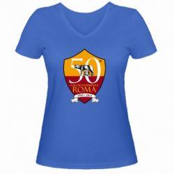 Жіноча футболка з V-подібним вирізом Calcio Femminile Roma