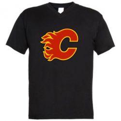 Мужская футболка  с V-образным вырезом Calgary Flames - FatLine