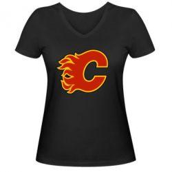 Женская футболка с V-образным вырезом Calgary Flames - FatLine