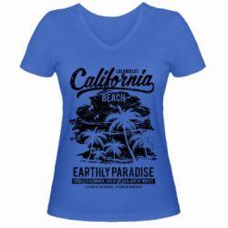 Жіноча футболка з V-подібним вирізом California Beach
