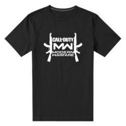 Мужская стрейчевая футболка Call of debt MW logo and Kalashnikov