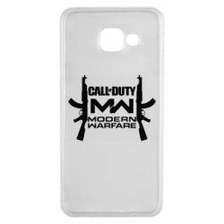 Чехол для Samsung A3 2016 Call of debt MW logo and Kalashnikov