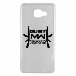 Чехол для Samsung A7 2016 Call of debt MW logo and Kalashnikov