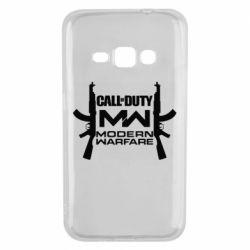 Чехол для Samsung J1 2016 Call of debt MW logo and Kalashnikov