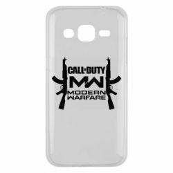 Чехол для Samsung J2 2015 Call of debt MW logo and Kalashnikov