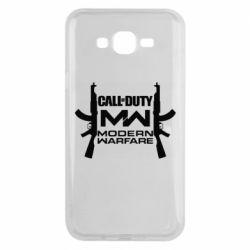 Чехол для Samsung J7 2015 Call of debt MW logo and Kalashnikov