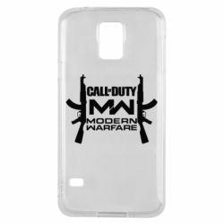 Чехол для Samsung S5 Call of debt MW logo and Kalashnikov